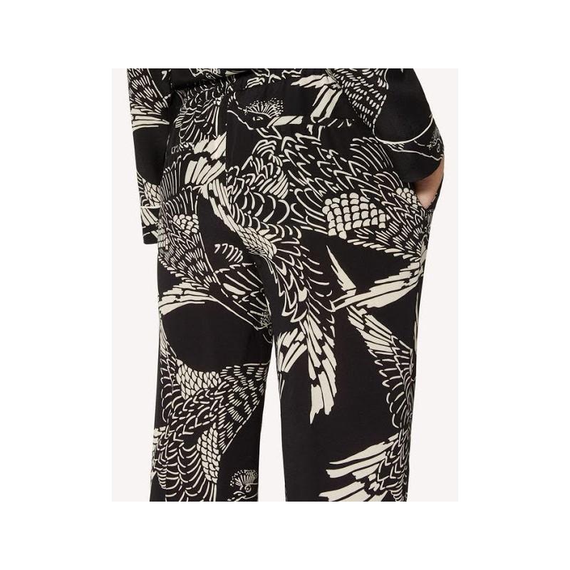 RED VALENTINO - Pantaloni seta stampati - nero