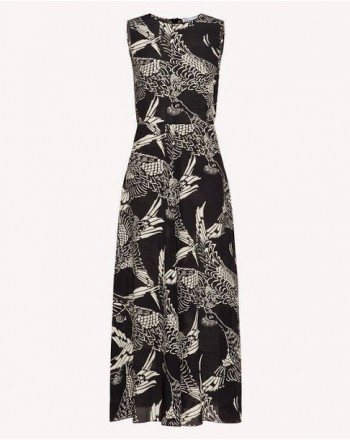 RED VALENTINO - Printed silk dress - Black