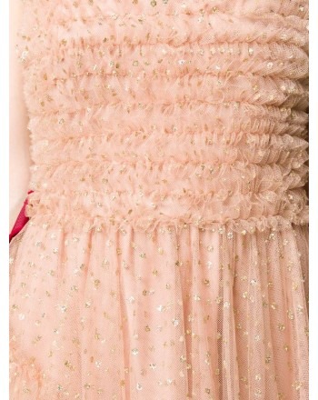 RED VALENTINO - Long Tulle Dress with Gold Dots - Nude