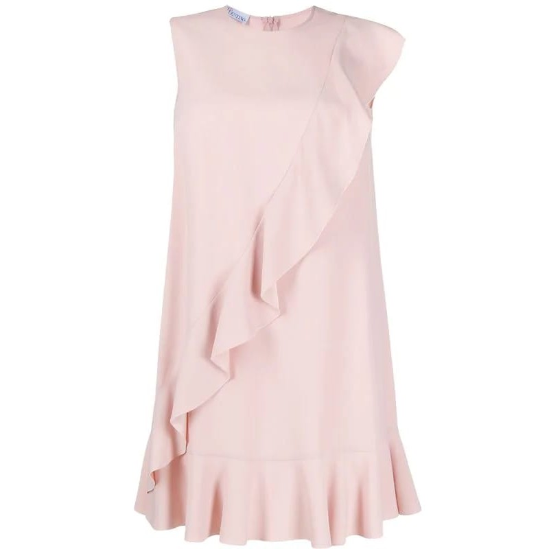 RED VALENTINO -Crepe Satin Dress with Frills -Pink