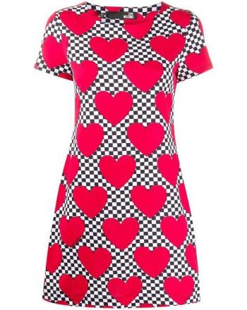 LOVE MOSCHINO - Vestito in cotone stampa CUORE - Rosso