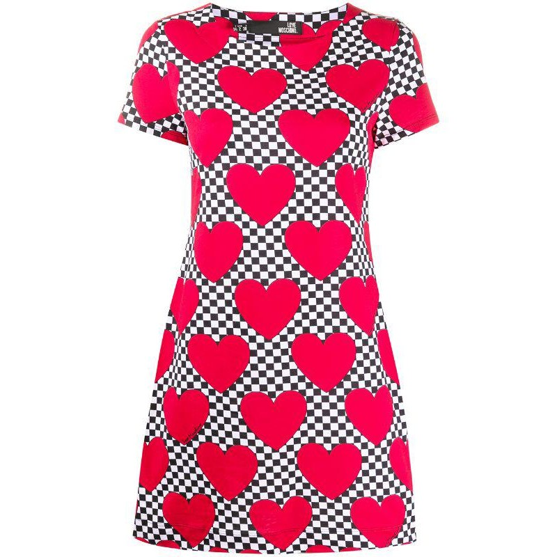 LOVE MOSCHINO -  HEART print cotton dress - Red