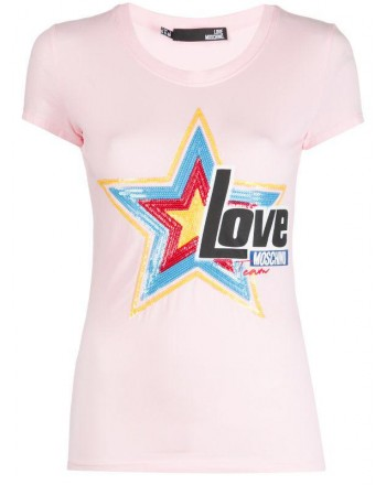 LOVE MOSCHINO - T-Shirt con paillettes in cotone - Rosa
