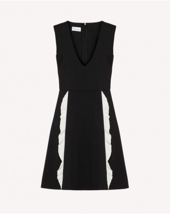 RED VALENTINO - Cady Dress with Frills- Ivory/Black
