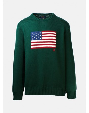 POLO RALPH LAUREN - FRONT LOGO FLAG COTTON SWEATER NORTHWEST PINE