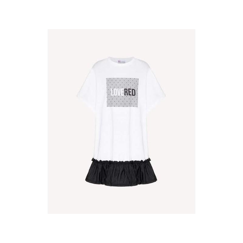 RED VALENTINO -  Abito T-Shirt con Stampa Tulle- Bianco/Nero