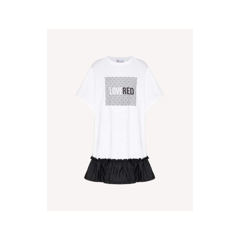 RED VALENTINO -  T-Shirt Dress with Tulle Print - White/Black