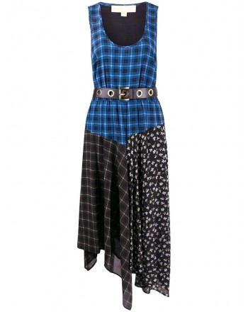 MICHAEL by MICHAEL Kors- Long Dress with Patchwork Pattern- Vintage Blue
