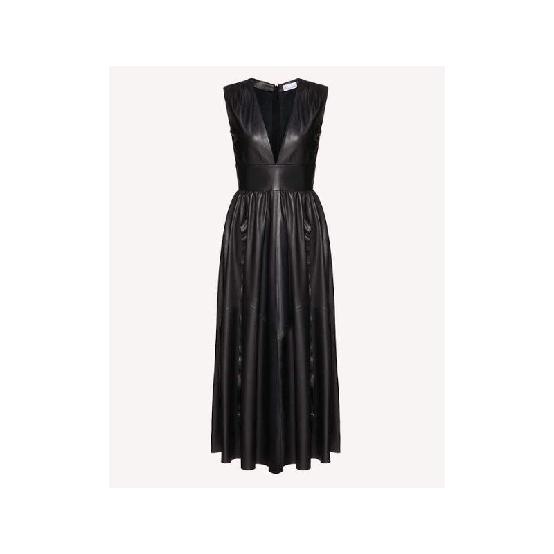 RED VALENTINO - Long leather dress - Black
