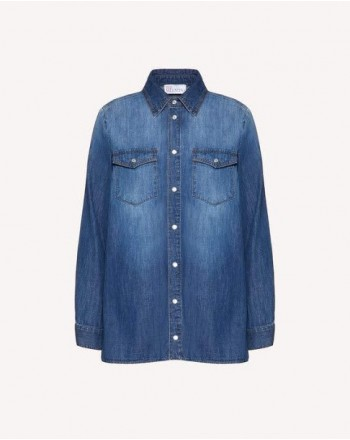 RED VALENTINO - Camicia Denim - Denim Scuro