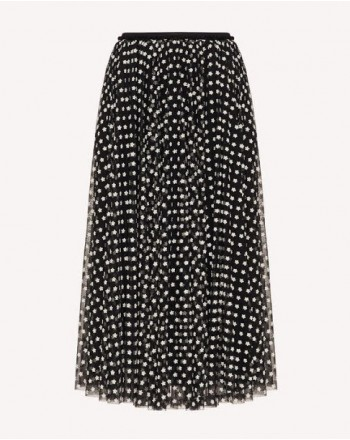 RED VALENTINO - Pleated tulle skirt - Black