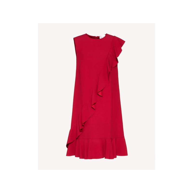 RED VALENTINO - Crepe dress with ruffles - Ribes