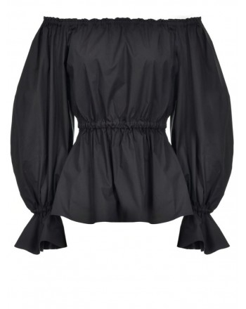 PINKO - Blusa FLINTONES in cotone stretch - Nero