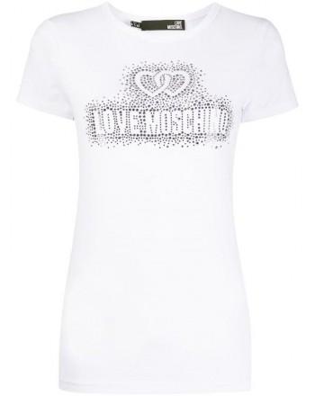 LOVE MOSCHINO - Cotton T-Shirt with Rhinestones Logo - Bianco