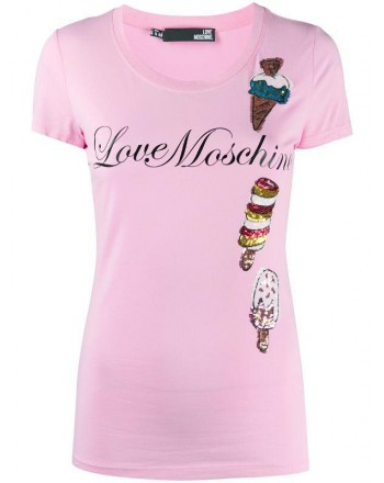 LOVE MOSCHINO - ICE t-shirt in cotton - Pink