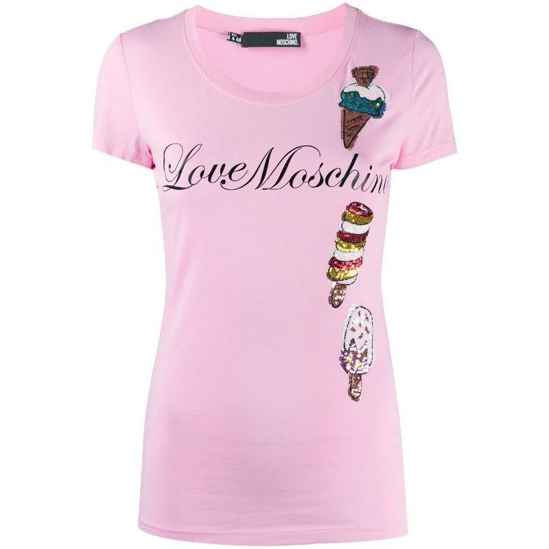 LOVE MOSCHINO - T-Shirt GELATO in cotone - Rosa