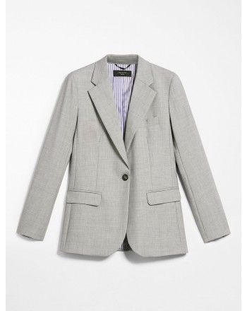 MAX MARA WEEKEND - Wool canvas blazer - Melange gray