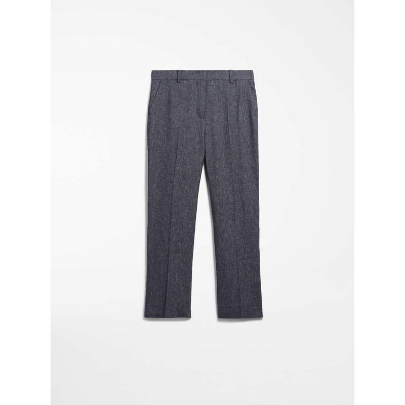 MAX MARA STUDIO - GARA Linen and Cotton Trousers- Blue/White