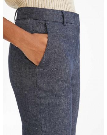 MAX MARA STUDIO - Pantalone in Lino e Cotone GARA - Blu/Bianco