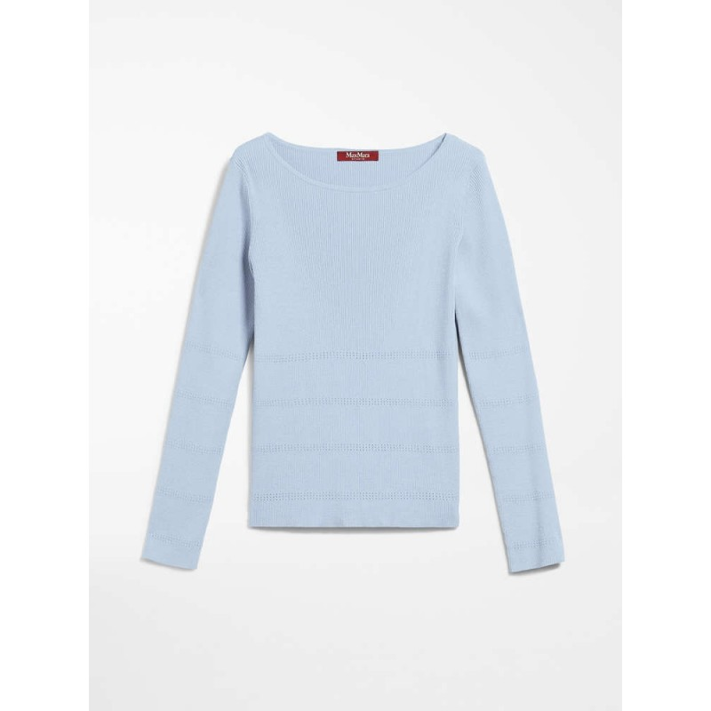 MAX MARA STUDIO - COSETTA Silk and Cotton Knit Light Blue
