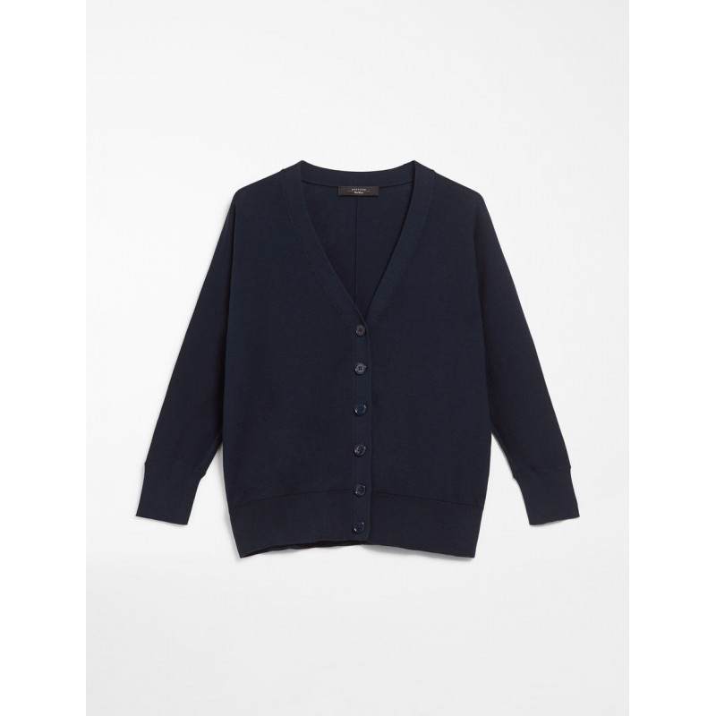 MAX MARA WEEKEND - Cardigan in silk and cotton yarn - SPONDA- Blue