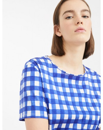 MAX MARA WEEKEND - Cotton jersey T-shirt - KUBAN - Vichy Ocean