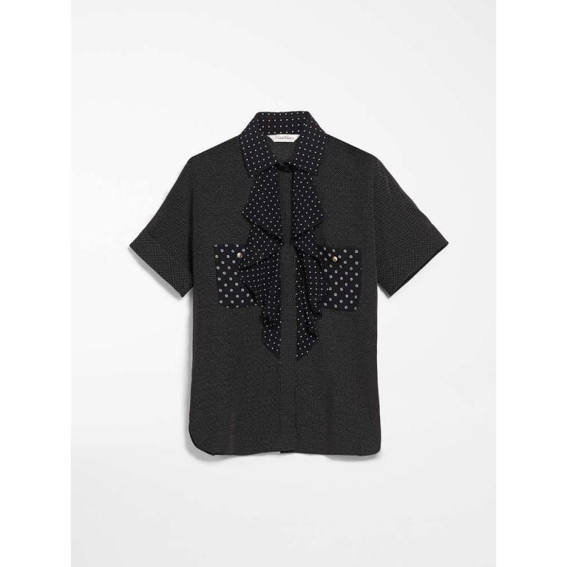 MAX MARA - Camicia in crepes di seta - CILE - Nero/Bianco