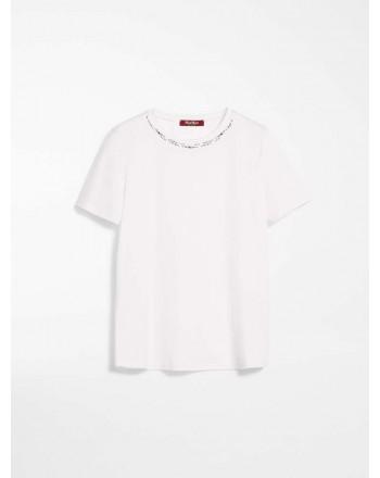 MAX MARA STUDIO - T-Shirt in Jersey di Cotone RIBE- Bianco