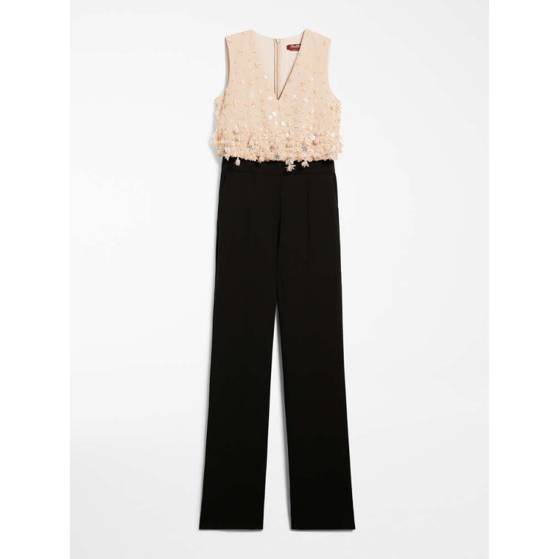 MAX MARA STUDIO - AMACA Cady Jumpsuit with Embroidered Top- Nude