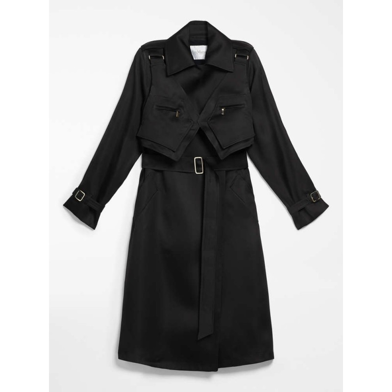 MAX MARA - Silk gaza trench coat - MAESA - Black