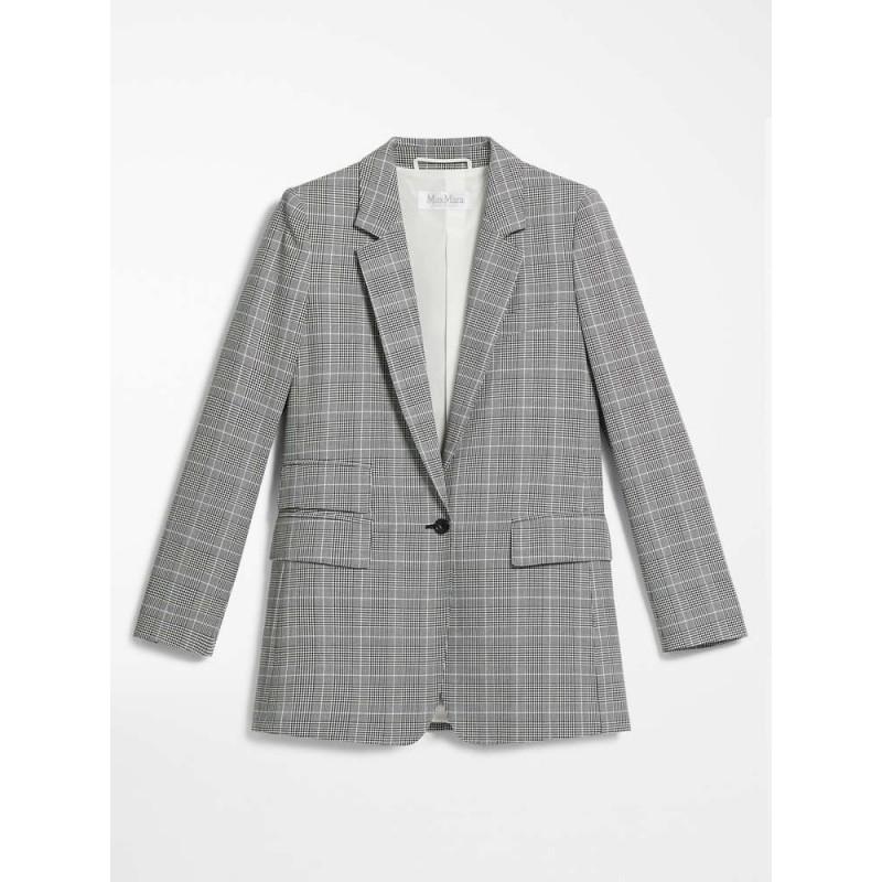 MAX MARA - Blazer in crep di cotone - PIUMA - Bianco/Nero