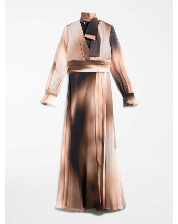 MAX MARA STUDIO - ELFI Silk Georgette Long Dress- Powder/Black