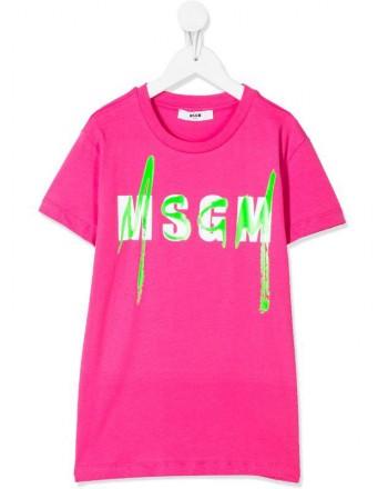 MSGM Baby- Logo Printed T-Shirt- Fuchsia