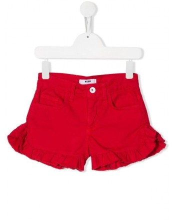 MSGM Baby- Shorts in Denim con Ruches - Rosso