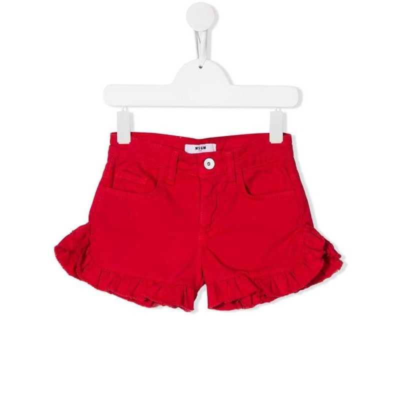 MSGM Baby- Denim Shorts with Frills- Red