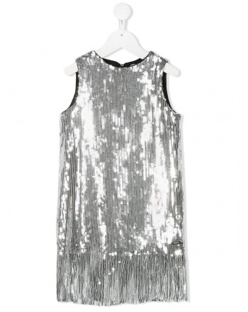 MSGM Baby- Full Paillettes Dress- Silver