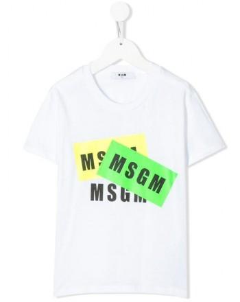 MSGM Baby- Logo Printed T-Shirt- White