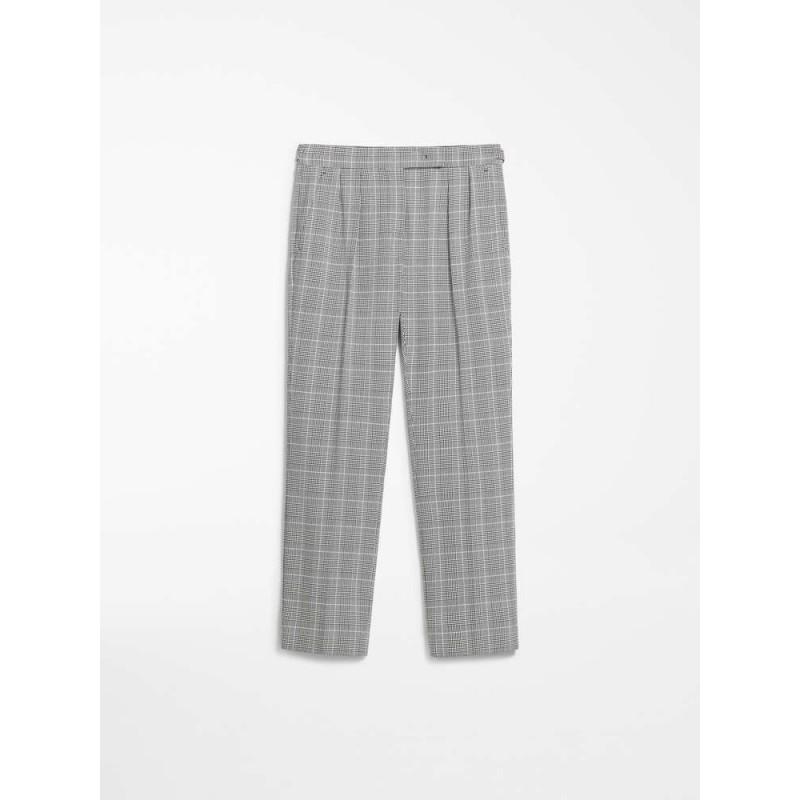 MAX MARA Pantaloni crepes di cotone - FIBRA - Bianco/Nero