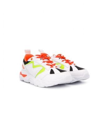 MSGM Baby- Sneakers Chunky con pannelli a Contrasto - Bianco/Arancio