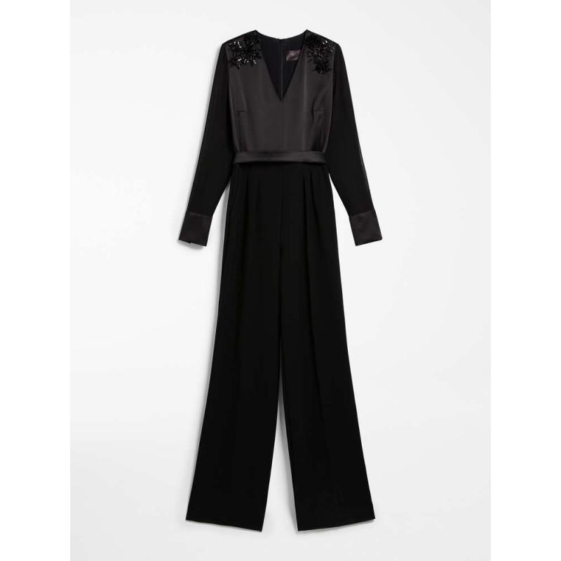MAX MARA -Silk satin suit - FIREPLACE -black