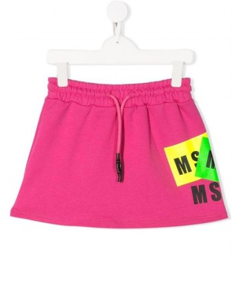 MSGM Baby- Cotton Printed Skirt- Fuchsia