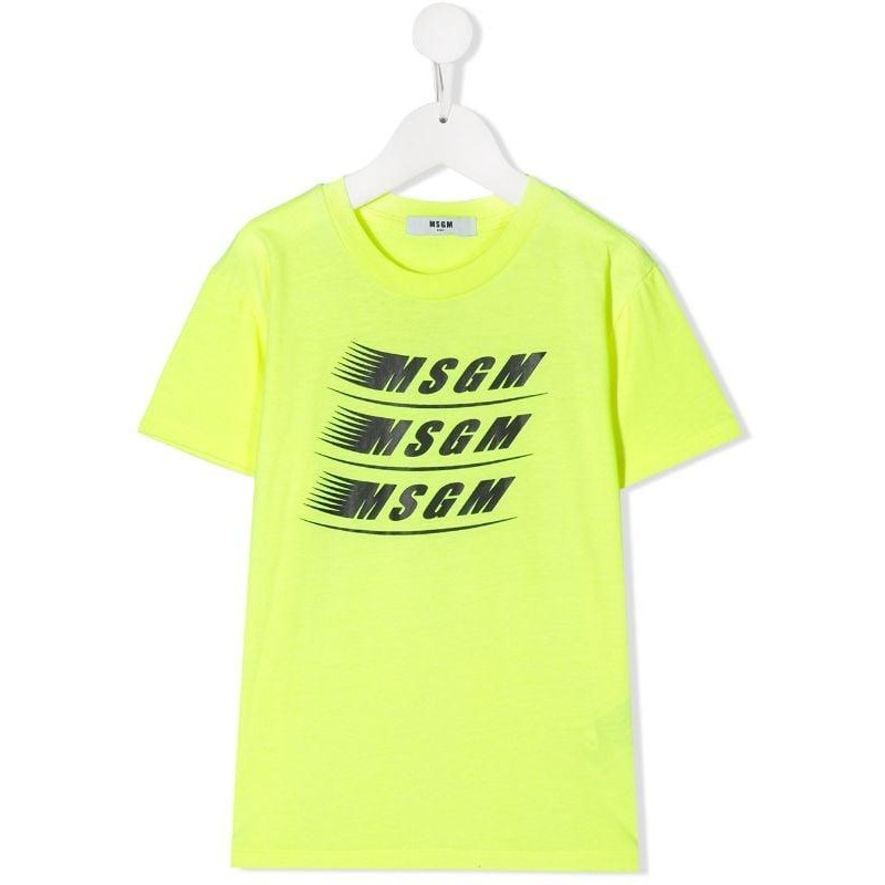 MSGM Baby- Logo Printed T-Shirt- Neon Yellow