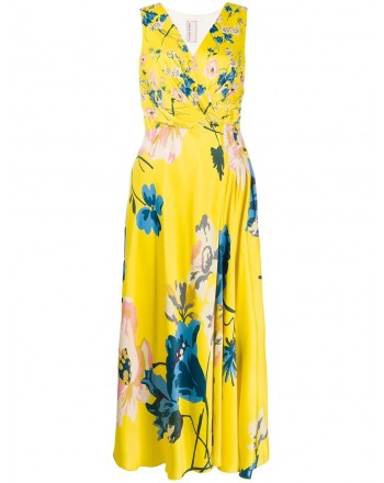 ANTONIO MARRAS- Viscose Dress with Flowers Print- Yellow