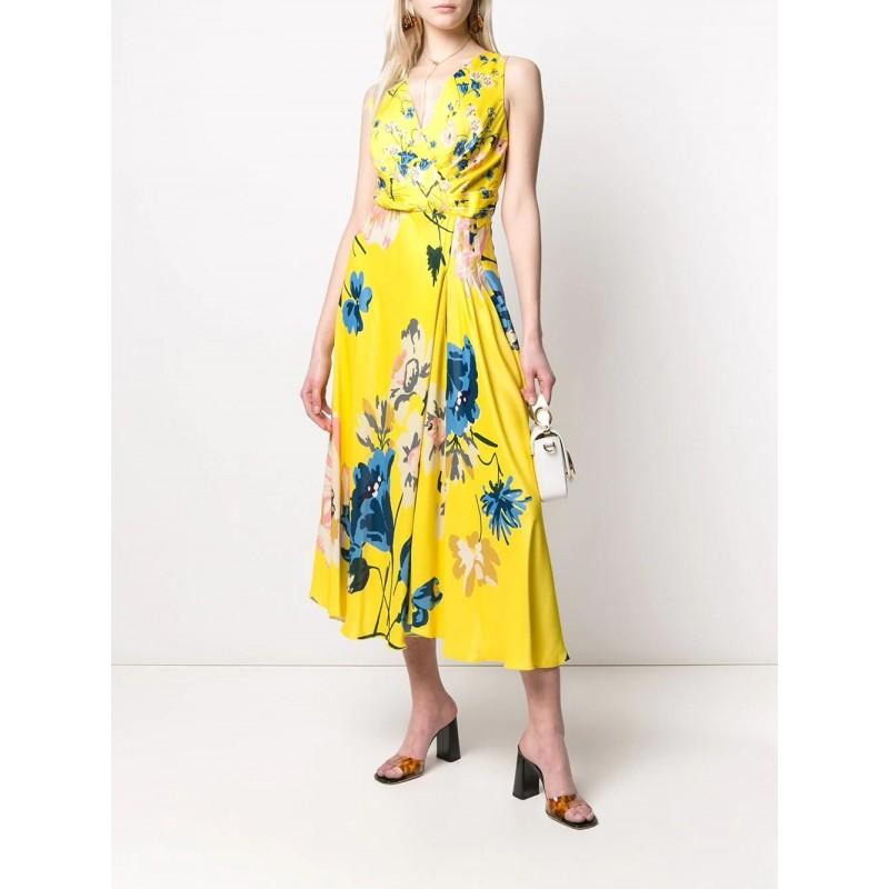 ANTONIO MARRAS- Viscose Dress with Flowers Print- Yellow