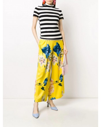 ANTONIO MARRAS- Viscose Trousers with Flowers Print- Yellow