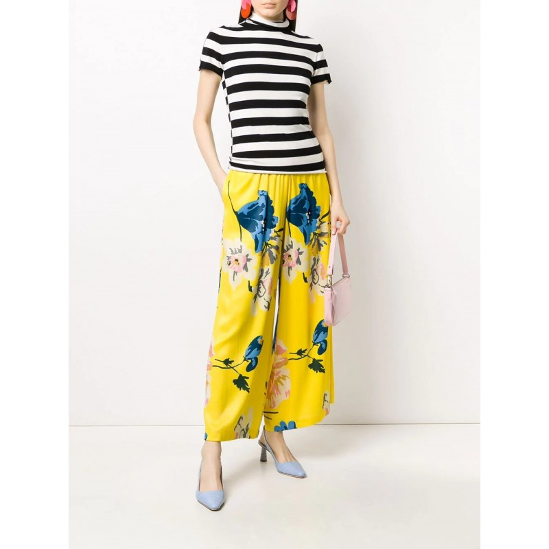 ANTONIO MARRAS - Pantalone in Viscosa a Stampa a Fiori- Giallo