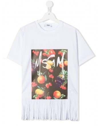 MSGM Baby- Printed T-Shirt with Fringes- White