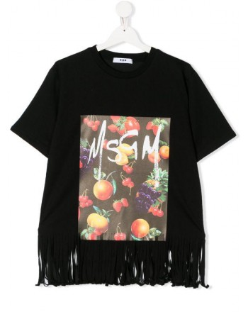MSGM Baby- Printed T-Shirt with Fringes- Black