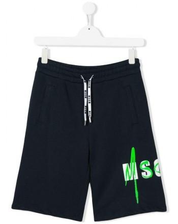 MSGM Baby- Cotton Bermuda Shorts- Blue