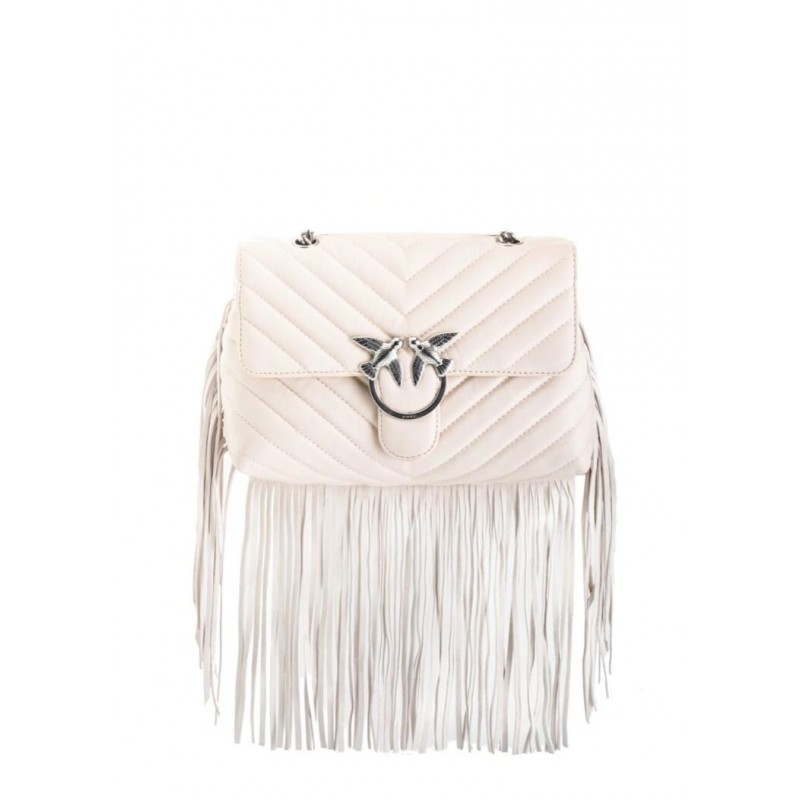 PINKO - Lather Bag with fringes white